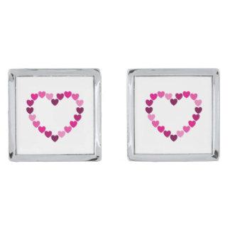 Pink hearts heart silver finish cufflinks