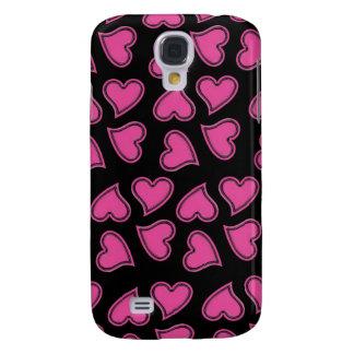 Pink Hearts in Random Pattern Galaxy S4 Case