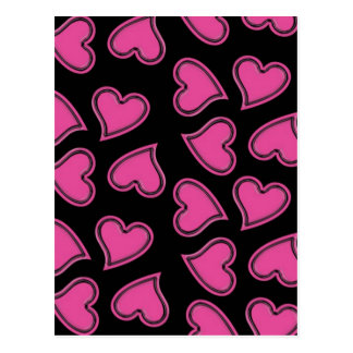Pink Hearts in Random Pattern Postcard