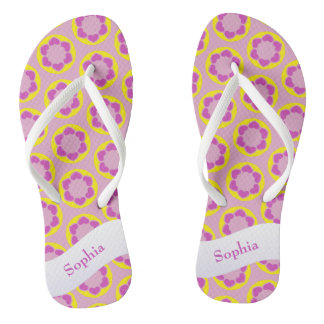 Pink Hearts Kaleidoscope Pattern Add Your Name Flip Flops