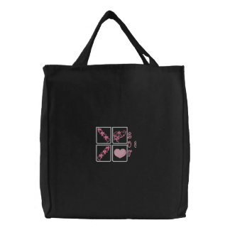 Pink Hearts, Love & Cupid Embroidered Canvas Totes