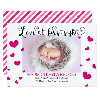 Pink Hearts Love First Sight-3x5Birth Announcement