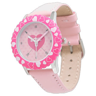 Pink Hearts Love U Custom Watch