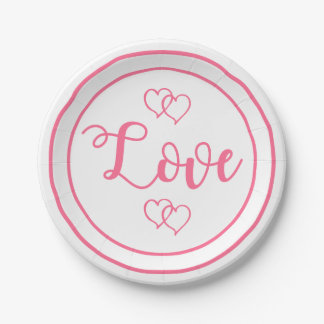 Pink Hearts Love Wedding Party Bridal Shower Paper Plate