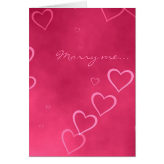 Pink hearts marriage proposal card