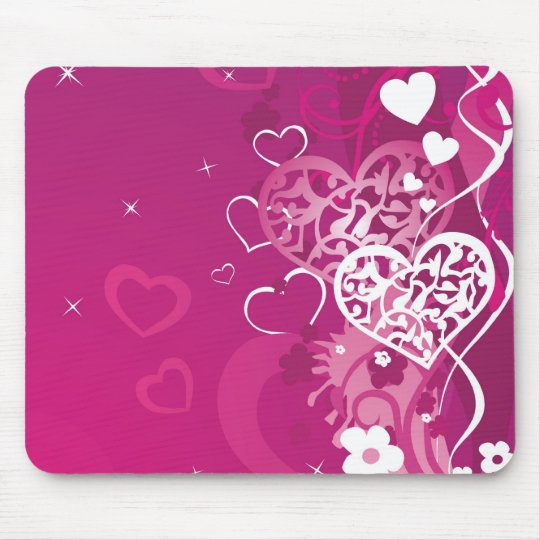 Pink Hearts Mouse Pad