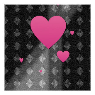 Pink Hearts on B W Diamonds Triangles Pattern Gift Poster
