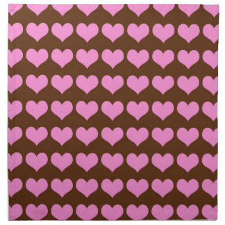 Pink Hearts on Brown Napkin