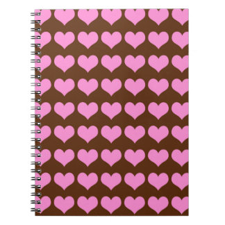 Pink Hearts on Chocolate Brown Background Notebook