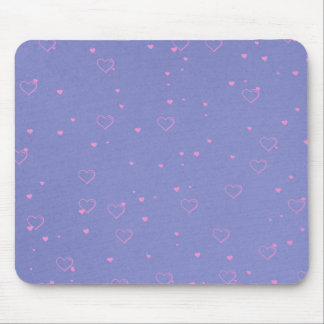 Pink hearts on lilac mouse mat