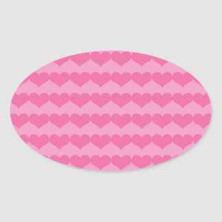 Pink Hearts on Pink Oval Sticker