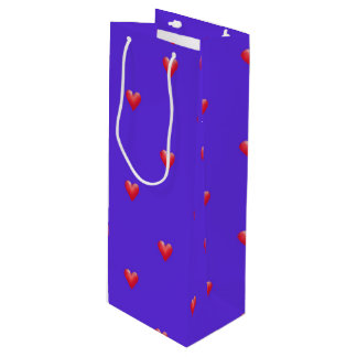 Pink Hearts on Purple   Valentine's Day Wine Gift Bag