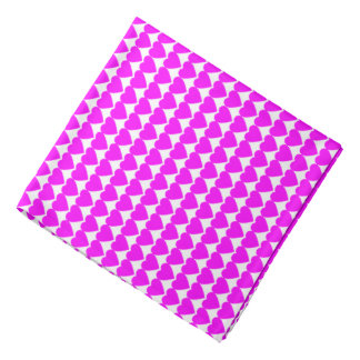 Pink Hearts on White Kerchief