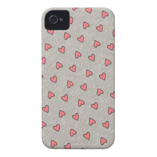 Pink Hearts over Gray Pattern Case-Mate iPhone 4 Cases