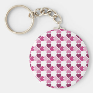 Pink Hearts Pattern Basic Round Button Key Ring