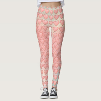 Pink Hearts pattern Leggings