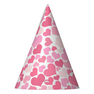 Pink Hearts Pattern - Party Hat
