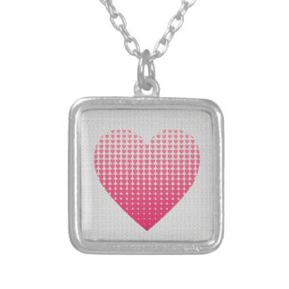 Pink hearts pattern silver plated necklace