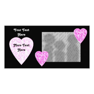 Pink Hearts Patterned Heart Design Picture Card