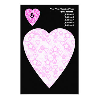 Pink Hearts. Patterned Heart Design. Stationery
