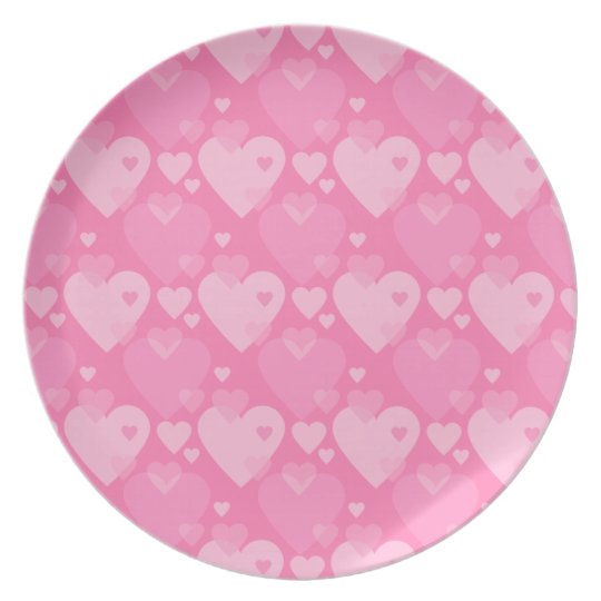 Pink hearts patttern plate