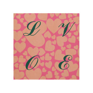 Pink hearts, peach,trendy,cute,love,valentine,girl wood canvas