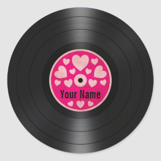 Pink Hearts Personalized Vinyl Record Album Classic Round Sticker