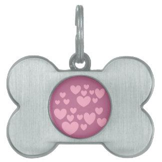 pink hearts pet tag