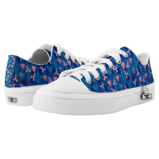 Pink Hearts Pink Ribbons Zipz Low Top Shoes/ Women Printed Shoes