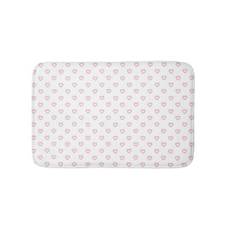 Pink Hearts Polka Dot Pattern Bath Mat