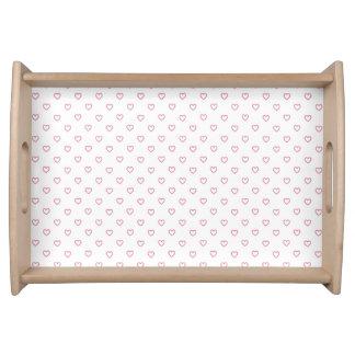Pink Hearts Polka Dot Pattern Small Serving Tray