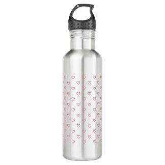 Pink Hearts Polka Dot Pattern Water Bottle