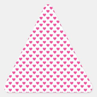 Pink hearts polka dots triangle sticker