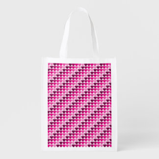 Pink hearts reusable grocery bag