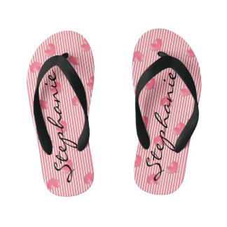 Pink Hearts & Stripes Flip Flops