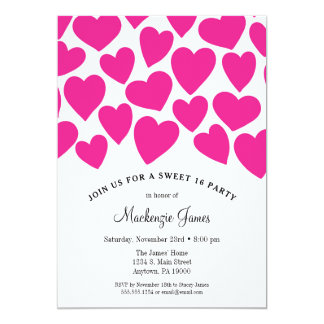 Pink Hearts Sweet Sixteen Birthday Invitation 16