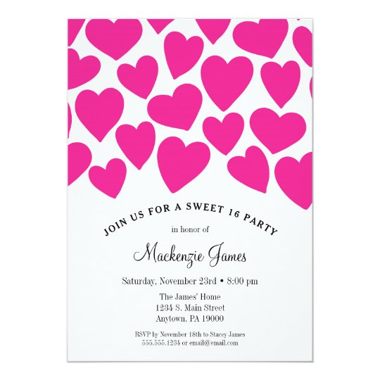 Pink Hearts Sweet Sixteen Birthday Invitation 16