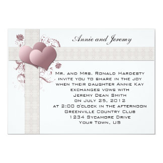 Pink Hearts Swirls Wedding Invitation