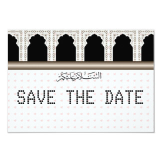 Pink Hearts telegram Muslim Save the Date Card
