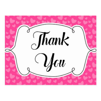 Pink Hearts Thank You Card Postcard