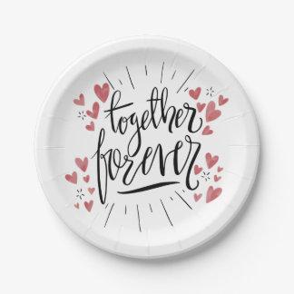 Pink Hearts Together Forever Wedding Bridal Shower Paper Plate