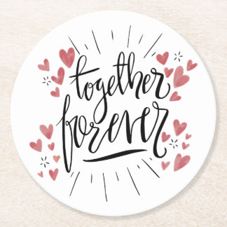 Pink Hearts Together Forever Wedding Bridal Shower Round Paper Coaster