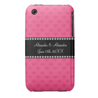 Pink hearts wedding favors iPhone 3 cover