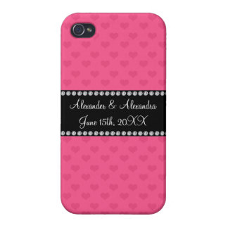 Pink hearts wedding favors iPhone 4 case
