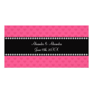 Pink hearts wedding favors photo cards