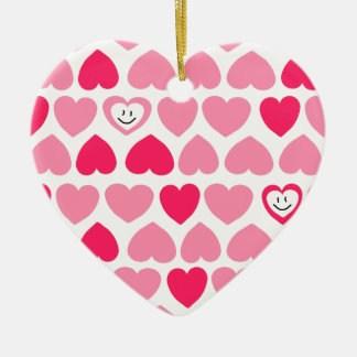Pink Hearts with 2 Smiling Hearts Christmas Ornament