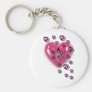 Pink Hearts with Star Key Ring