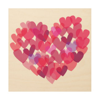Pink Hearts Wood Canvases