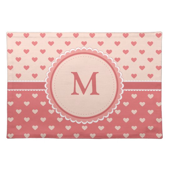Pink Hearts || Your Initial || Custom Placemats