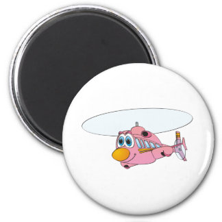 Pink Helicopter Cartoon 6 Cm Round Magnet